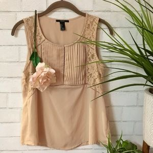 🍃🌸New: {Forever 21}: Tan Lace Blouse🌸🍃